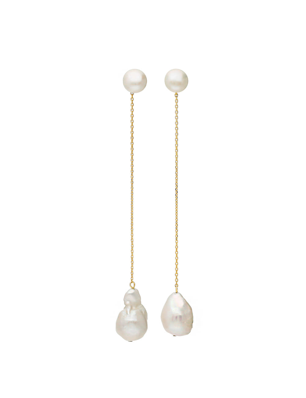 925 Silver Mood Nature Pearl Dropped Earrings _ 담수진주 드롭귀걸이 라비쉬에