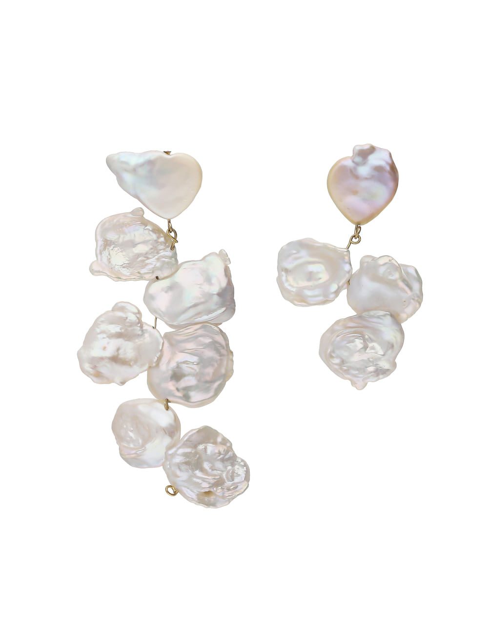 925 Silver Heart Nature Pearl Bold Dropped Earrings _ 볼드 담수진주 귀걸이 라비쉬에