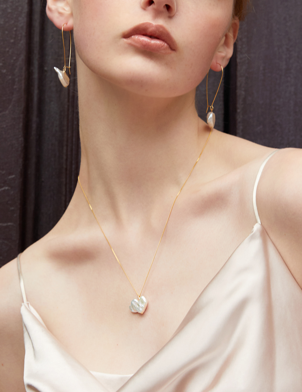 925 Silver Nature Heart Pearl Necklace _ 하트진주 목걸이 라비쉬에